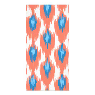 Pink Blue Abstract Tribal Ikat Diamond Pattern Photo Greeting Card