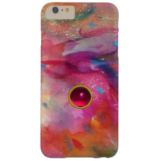 PINK BLUE ABSTRACT WITH 3D RED RUBY GEMSTONE BARELY THERE iPhone 6 PLUS CASE