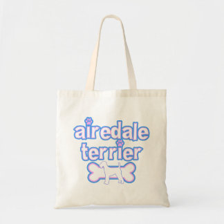 Pink & Blue Airedale Terrier Tote Bag