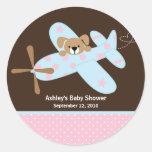 Pink & Blue Airplane Baby Shower Sticker