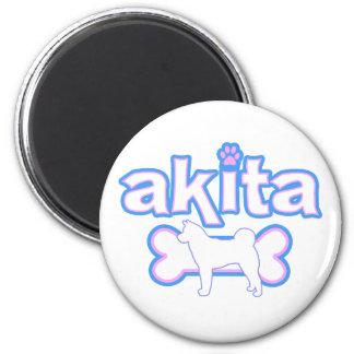 Pink & Blue Akita Magnet
