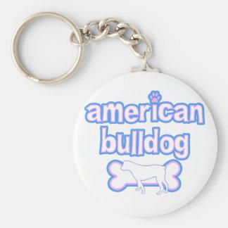 Pink & Blue American Bulldog Keychain