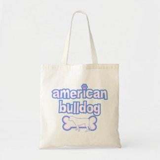 Pink & Blue American Bulldog Tote Bag