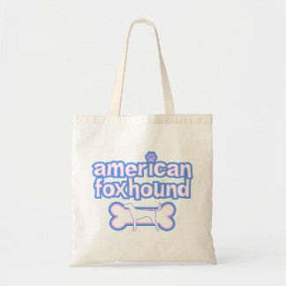 Pink & Blue American Foxhound Tote Bag