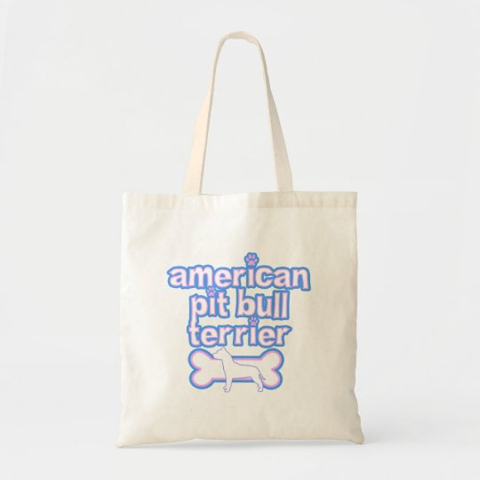 Pink & Blue American Pit Bull Terrier Tote Bag