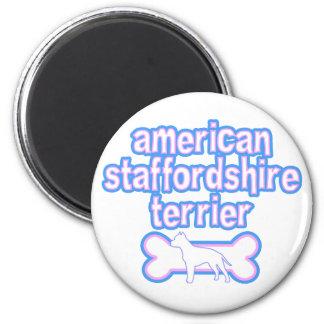 Pink & Blue American Staffordshire Terrier Fridge Magnet