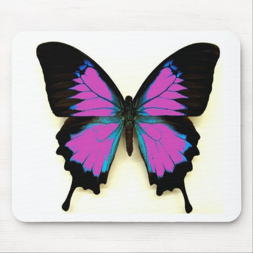 Pink, Blue and Black Butterfly Mouse Pad