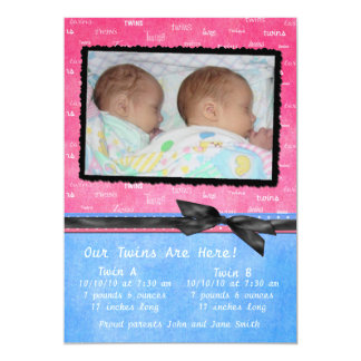 Pink, Blue and Black Twins Birth Annoucement Card