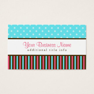 Pink, Blue and Brown Business Card