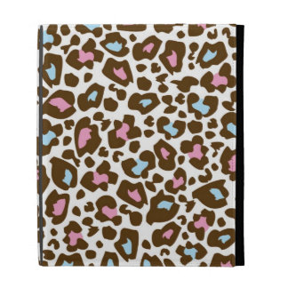Pink, Blue, and Brown Leopard Spotted Animal Print iPad Folio Covers