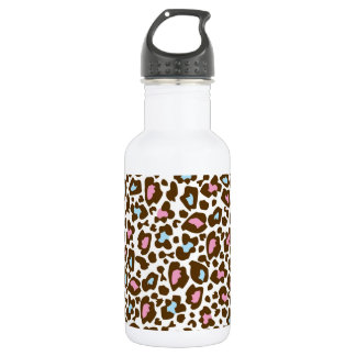 Pink, Blue, and Brown Leopard Spotted Animal Print Water Bottle