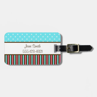 Pink, Blue and Brown Tag For Luggage