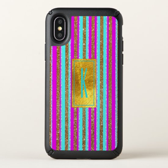 Pink, Blue and Gold Glittery Stripes iPhone X Case