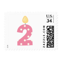 Pink Blue and Gray 2nd Birthday Stamps