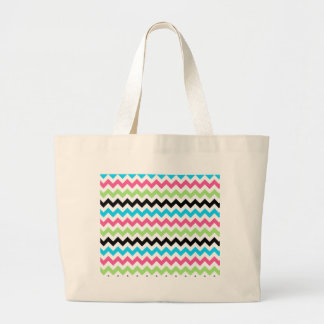 Pink blue and green chevron tote bag