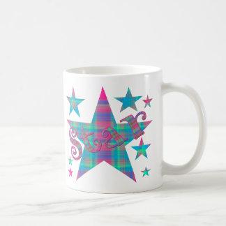 Pink Blue and Green Plaid Star Coffee Mug