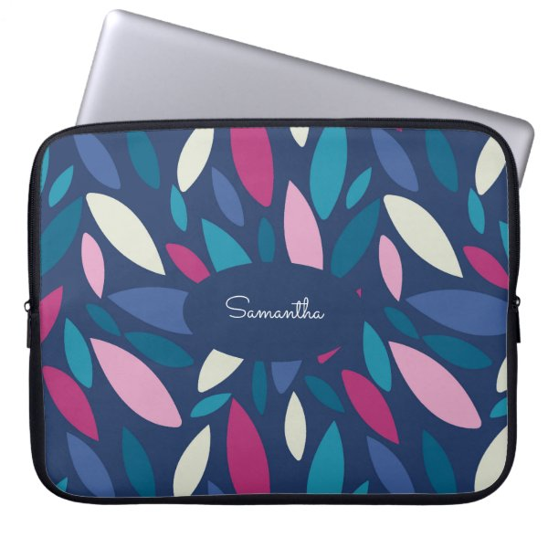 Pink, blue and green toned leaf pattern Monogram Laptop Sleeve
