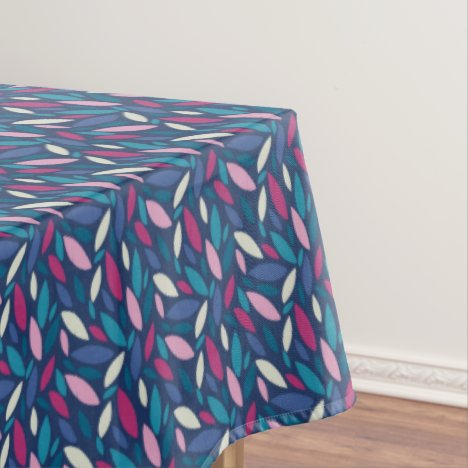 Pink, blue and green toned leaf pattern tablecloth