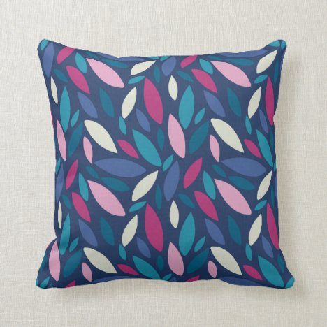 Pink , blue and green toned leaf pattern throw pillow
