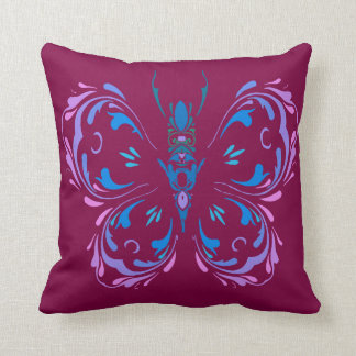 Pink Blue and Mauve Butterfly Cranberry Design Throw Pillow