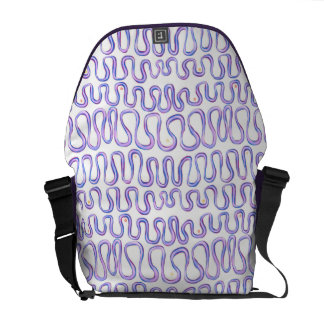 Pink blue and purple pattern hand painted ribbon messenger bag