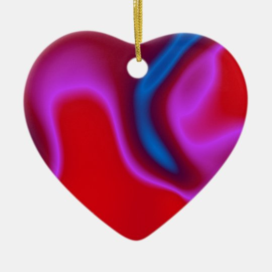 pink blue and red heart ornament
