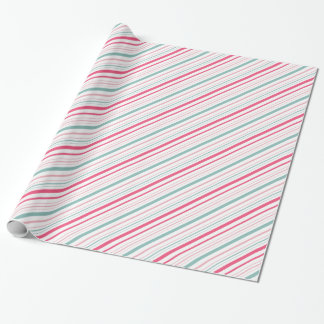 Pink Blue and White Bubblegum Stripes Pattern Wrapping Paper