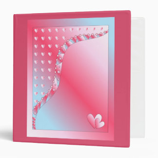 Pink, blue and white heart binders