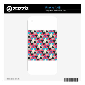Pink Blue and White Triangle Pattern Decal For The iPhone 4S