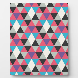 Pink Blue and White Triangle Pattern Plaque