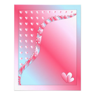 Pink blue and white Valentine Design Personalized Announcements