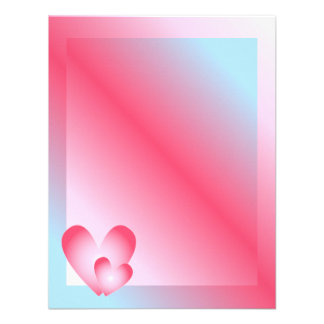 Pink blue and white Valentine Design Invitations