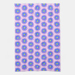 Pink, Blue and Yellow Flower Pattern. Hand Towels