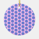 Pink, Blue and Yellow Flower Pattern. Ornaments