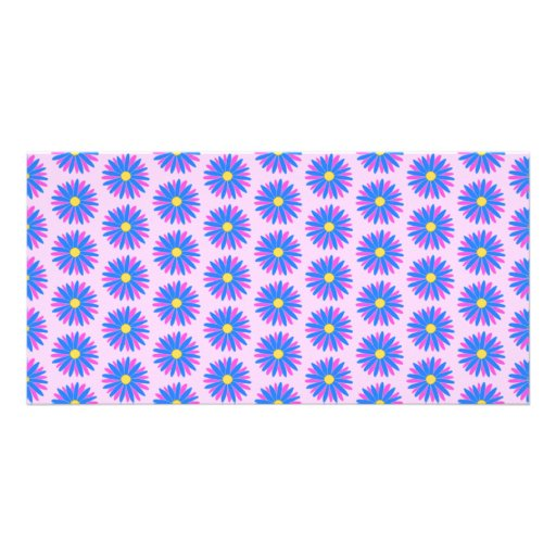 Pink, Blue and Yellow Flower Pattern. Photo Greeting Card