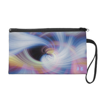 Pink, Blue and Yellow Mystical Swirl Wristlet