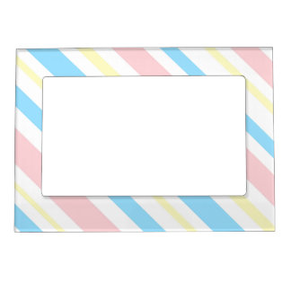 Pink Blue and Yellow Striped Magnetic Photo Frame
