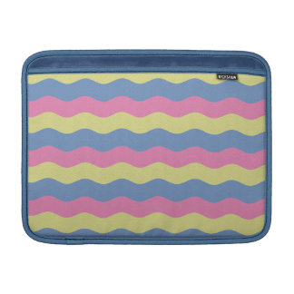 Pink, blue and yellow waves MacBook sleeve