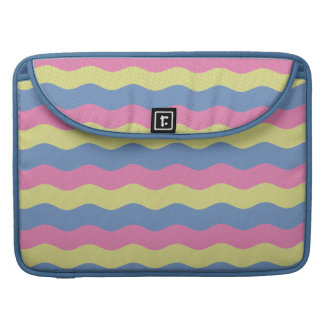 Pink, blue and yellow waves sleeve for MacBooks