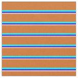 [ Thumbnail: Pink, Blue, Aqua & Chocolate Colored Stripes Fabric ]