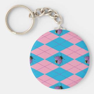 Pink & Blue Argyle Ladybug Basic Round Button Keychain