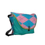 Pink & Blue Argyle Messenger Bags