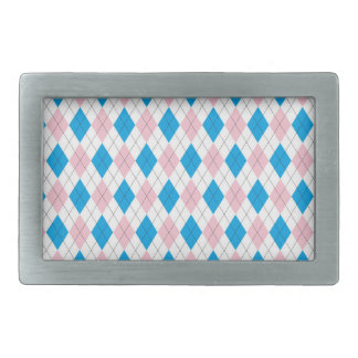Pink blue argyle pattern belt buckle