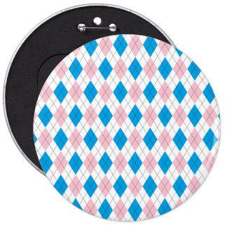 Pink blue argyle pattern 6 inch round button