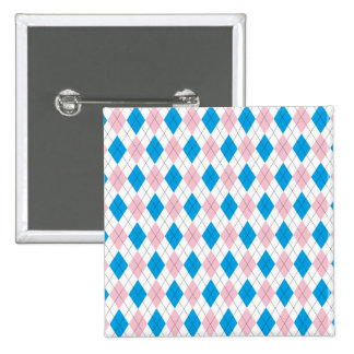 Pink blue argyle pattern 2 inch square button