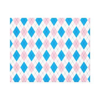Pink blue argyle pattern canvas print