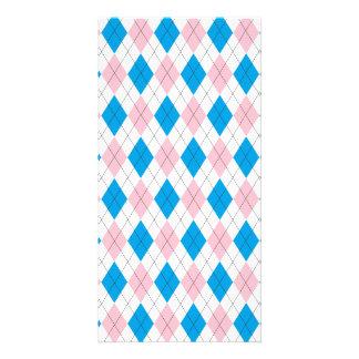 Pink blue argyle pattern card