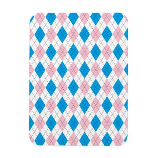 Pink blue argyle pattern rectangular photo magnet