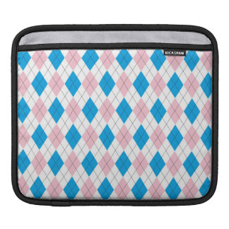 Pink blue argyle pattern sleeve for iPads
