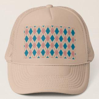 Pink blue argyle pattern trucker hat